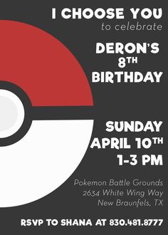 Pokemon Birthday Invite