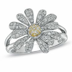 1/2 CT. T.w. Diamond Daisy Ring in Two-Tone Sterling Silver