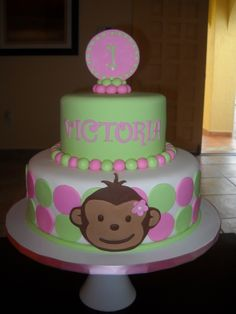 Pink and Green Monkey Cake! By Yane on CakeCentral.com
