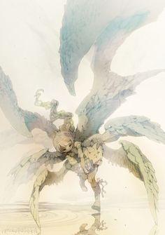 Illustration by Demizu Posuka Character Concept, Character Art, Concept Art, Character Design, Art Manga, Anime Art, Anime Angel, Fantasy Characters, Art Inspo