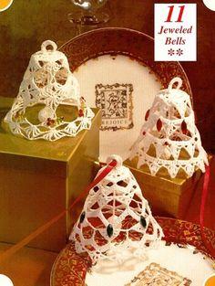 X753 Crochet PATTERN ONLY Jeweled Bells Christmas Ornaments   BeadedBundles - Instructional on ArtFire