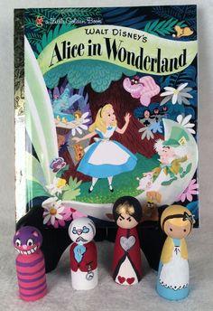 Custom Wood Peg Dolls-Walt Disney's Alice in Wonderland w/ book-Boys & Girls-Toy #Disney