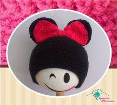 Modelo Nº 81 : Minie mouse tradicional #crochet #hat #gorros