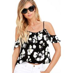 Late Bloomer Black Floral Print Crop Top ($36) ❤ liked on Polyvore featuring tops, black, viscose tops, off the shoulder crop top, woven crop top, off the shoulder tops and floral print tops