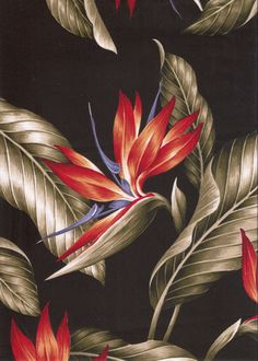 10wali Tropical Hawaiian Vintage bird of paradise, flowers cotton apparel fabric.  More fabrics at: BarkclothHawaii.com