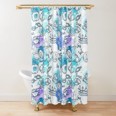 Nautical Pattern, Curtains, Shower, Prints, Rain Shower Heads, Blinds, Showers, Draping, Picture Window Treatments