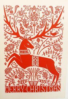 hungarian, Scandinavian, design, deer, heart, colour, pattern, christmas card, illustration