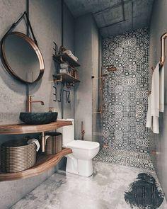 Stunning Boho Master Bathroom Design Decor Ideas - Page 2 of 48 Bathroom Design Small, Bathroom Interior Design, Bathroom Designs, Industrial Bathroom Design, Bath Design, Tile Design, Bathroom Ideas, Bad Inspiration, Bathroom Inspiration