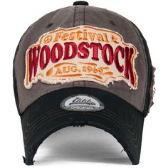 ililily WOODSTOCK August 1969 Vintage Patch Trucker Hat Cotton... ($13) ❤ liked on Polyvore featuring accessories, hats, baseball cap, truck caps, vintage hats, baseball hats and cotton baseball caps