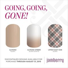 Going, Going, Gone wraps will be available until August 31, 2015!! #AlmondJN #AlmondOmbreJN #UpperEastSideJN