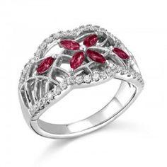 Porrati, Imperia Collection, 14K White Gold Ruby Bridal Set, 5/8 ctw.
