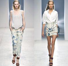 Anthony Vaccarello 2014 Spring Summer Womens Runway Collection - Paris Fashion Week - Mode à Paris - Acid Wash Tie-Dye Bleached Denim Jeans ...