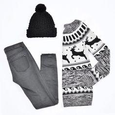 Dark Grey High Waist Jegging, Slouchy Jacquard Sweater & Slouchy Pompom Hat. #20daysofgifting