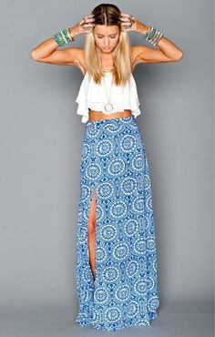 So cute. white top blue maxi skirt. women fashion clothing style apparel @roressclothes closet ideas