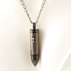 Mens Necklace Black Bullet Stainless Steel Pendant by luckyhorn, $32.00