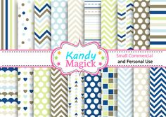 BUY 2 Get 1 FREE 20 Digital Papers. Five Tone Patterns in Blue and Green (3 no 4) for Personal Use and Small Commercial Use Scrapbooking