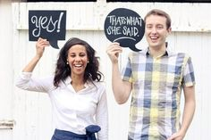 Engagement photo signage in the form of thought/dialogue bubbles... They've taken this trend to the next level.