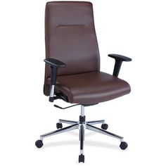 Lorell Leather Suspension Chair, Brown