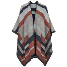 Women's Topshop Colorblock Geometric Cape ($58) ❤ liked on Polyvore featuring outerwear, jackets, cardigans, coats, tops, topshop cape, brown cape, cape coat and topshop