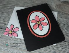 handmade greeting matching envelope designed by demo Beth McCullough ... clean and simple ... layers of die cut ovals with flower stamped on top ... black background for drama ... Stampin' Up!