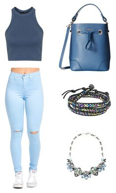 """blue <3"" by angela229 ❤ liked on Polyvore featuring AeraVida, Furla and Topshop"