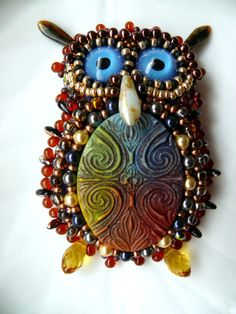 Bead embroidered Brooch PERFECT Owl Beadwork EBW Team Seed beaded Jewelry EBEG