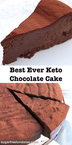 The ultimate keto chocolate cake recipe! This decadent, fudgy cake is really easy to make and requires only 5 ingredients. Sugar Free, gluten free and only net carbs per slice. Sugar Free Desserts, Sugar Free Recipes, Low Carb Desserts, Low Carb Recipes, Sugar Free Cakes, Diabetic Cake Recipes, Sweet Recipes, Food Cakes, Cheesecake Recipes