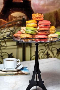 Paris in a Cup Macarons  I MUST STOP WITH ALL THINGS EIFFEL TOWER BUT I CAN'T SEEM TO!!!  AHHHHH!!!