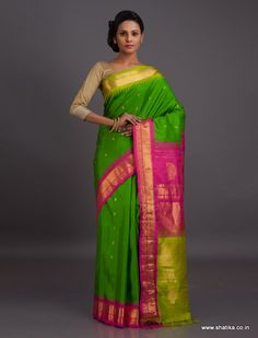 The freshness of green is sure to have a rub off on its wearer. The uniquely designed ganga jamuna border of this Gadwal silk is here to flaunt the latest silk fashion trends. Gadwal sarees are renowned for admirable zari patterns and well-crafted pure silk kuttu borders and pallus. Exhibiting a remarkable trait of getting folded down to the size of a matchbox, our Gadwal Silk Sarees online have demand throughout the country.