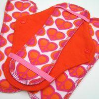 JazzyPads Cloth Menstrual Pad Set Maxi Orange Pink by tamarack, $10.75