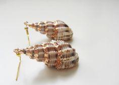 Cone textured seashell earrings