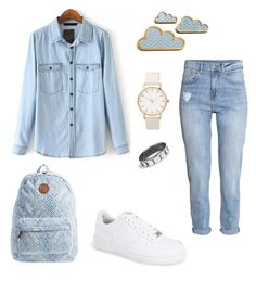 """Jeans"" by abecic ❤ liked on Polyvore featuring H&M, NIKE, Billabong, women's clothing, women's fashion, women, female, woman, misses and juniors"