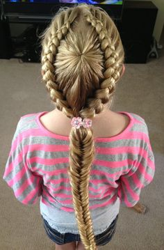 Starburst crown braid into a fishtail ponytail. My daughter is thrilled with it :)