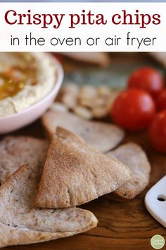 Use store-bought pita bread to make your own crispy chips at home! Great for dunking into hummus or adding to salad instead of croutons. Cut bread into triangles, season with oil & spices. Then toast in the oven or air fryer until crisp. Easy Hummus Recipe, Guacamole Recipe Easy, Vegan Crab, Vegan Fish, Bread Oven, Pita Bread, Homemade Pita Chips, Air Fryer Recipes Snacks, Crispy Chips