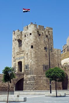 Syria, Aleppo. Entrance to the Citadel.