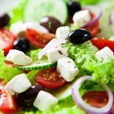 Ina Garten's Greek Salad - this is absolutely yummy every time. Blend dressing to emulsify to make it simply perfect. Add grilled chicken to step it up as a main meal.