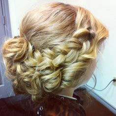 Blonde hair updo, braid, prom hair, wedding hair