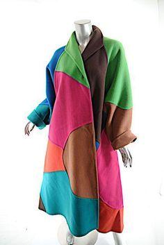 Vintage OSCAR de la RENTA Multi Color-Blocked 100% Wool A-Line Coat