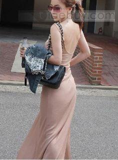 Glamorous Loose Leisure Backless Round Neckline Dress.