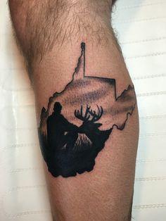 West Virginia tattoo. West Virginia Tattoo, Antler Tattoos, Tattoo Designs, Tattoo Ideas, I Tattoo, Tattoos For Guys, Tatting, Piercings, Skull