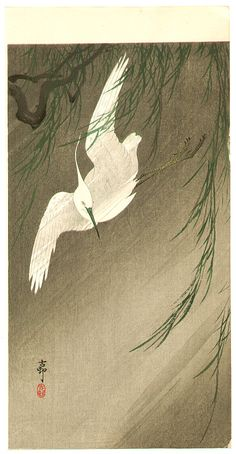 Egret in Storm by Ohara Koson