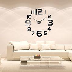 Anself - Reloj de pared extraíble creativo de vidrio acrílico, efecto de espejo…