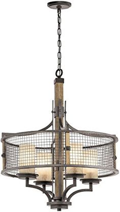 Best Bathroom Light Fixtures | Kichler 43582AVI 4Light Round Pendant Chandelier ** You can find out more details at the link of the image.(It is Amazon affiliate link) #like