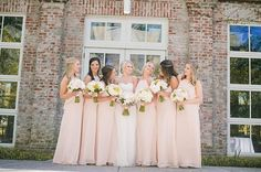 "bridesmaids in our ""Cait"" dress in Nude! Amsale Bridesmaid, Pink Bridesmaids, Bridesmaid Dresses, Wedding Dresses, Pink Wedding Colors, Memphis, Real Weddings, Nude, Wedding Ideas"