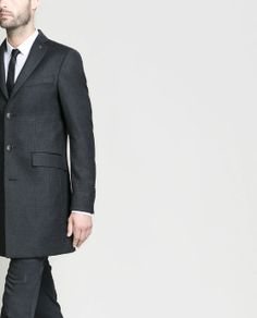 #Zara  - HOMBRE - #abrigo #coat cuadros detalles polipiel #moda #fashion #mesnwear