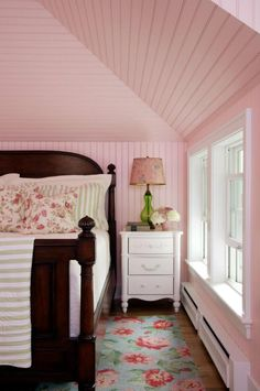 I have always loved pink in a bedroom.  Comfort color.