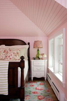 I have always loved pink in a bedroom.  Comfort color.