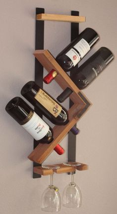 Wall Wine Rack - 4 Bottle 2 Glasses Holder Storage Display Hand Hammered Steel and Natural Redwood  Love unique designs? weve created this Milano