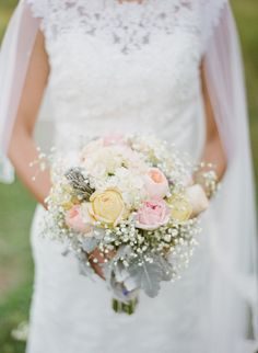 #Bouquet | A warm and inviting outdoor wedding with tented reception. See more on Style Me Pretty: http://www.stylemepretty.com/2014/02/12/diy-greenwood-hills-country-club-wedding/