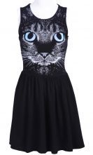 Black Sleeveless Cat Face Print Pleated Dress $30.65  #SheInside
